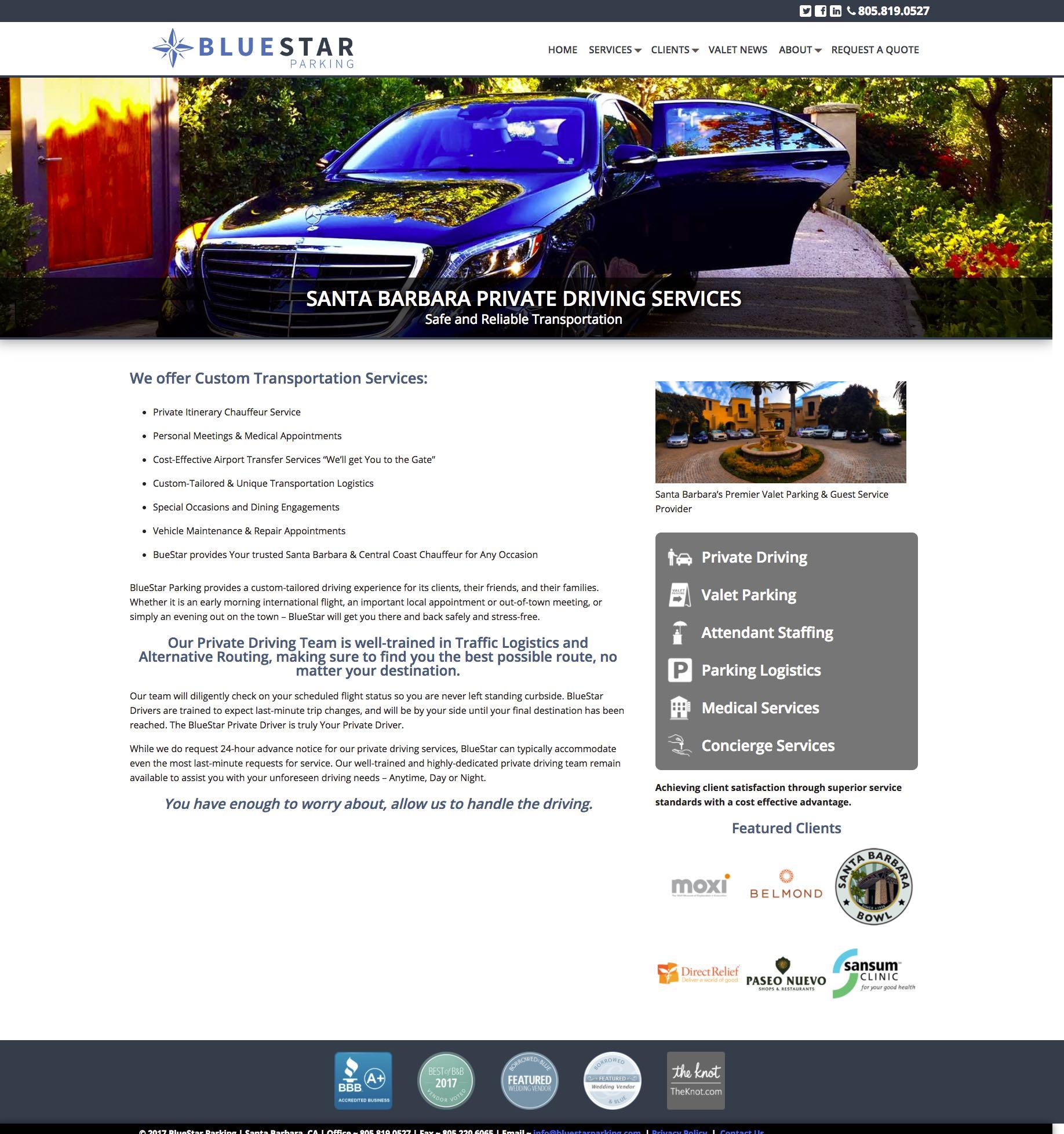 BlueStar Parking Santa Barbara Valet Services