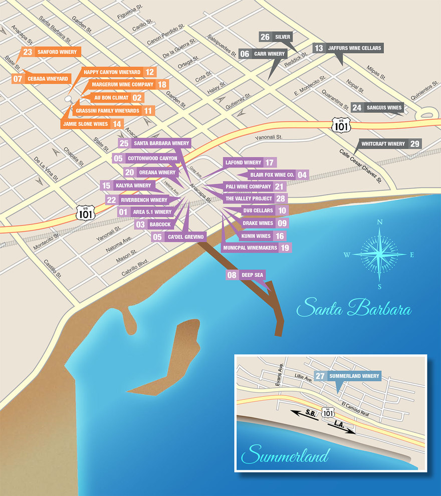 Santa Barbara Urban Wine Tour Map