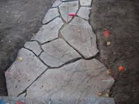 Flagstone Pathway Construction Progress