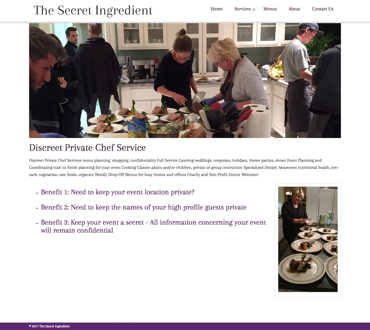 the secret ingredient catering ameravant web design