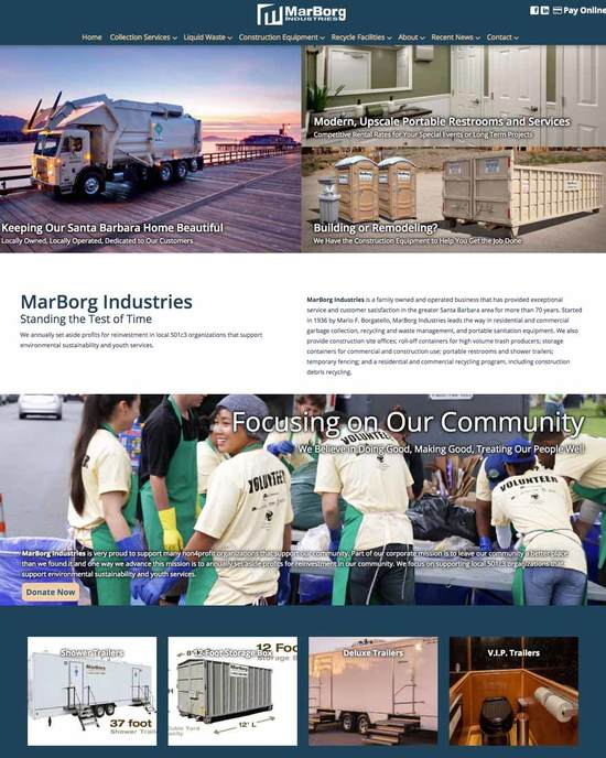 MarBorg Industries Santa Barbara Website Designers Home Page
