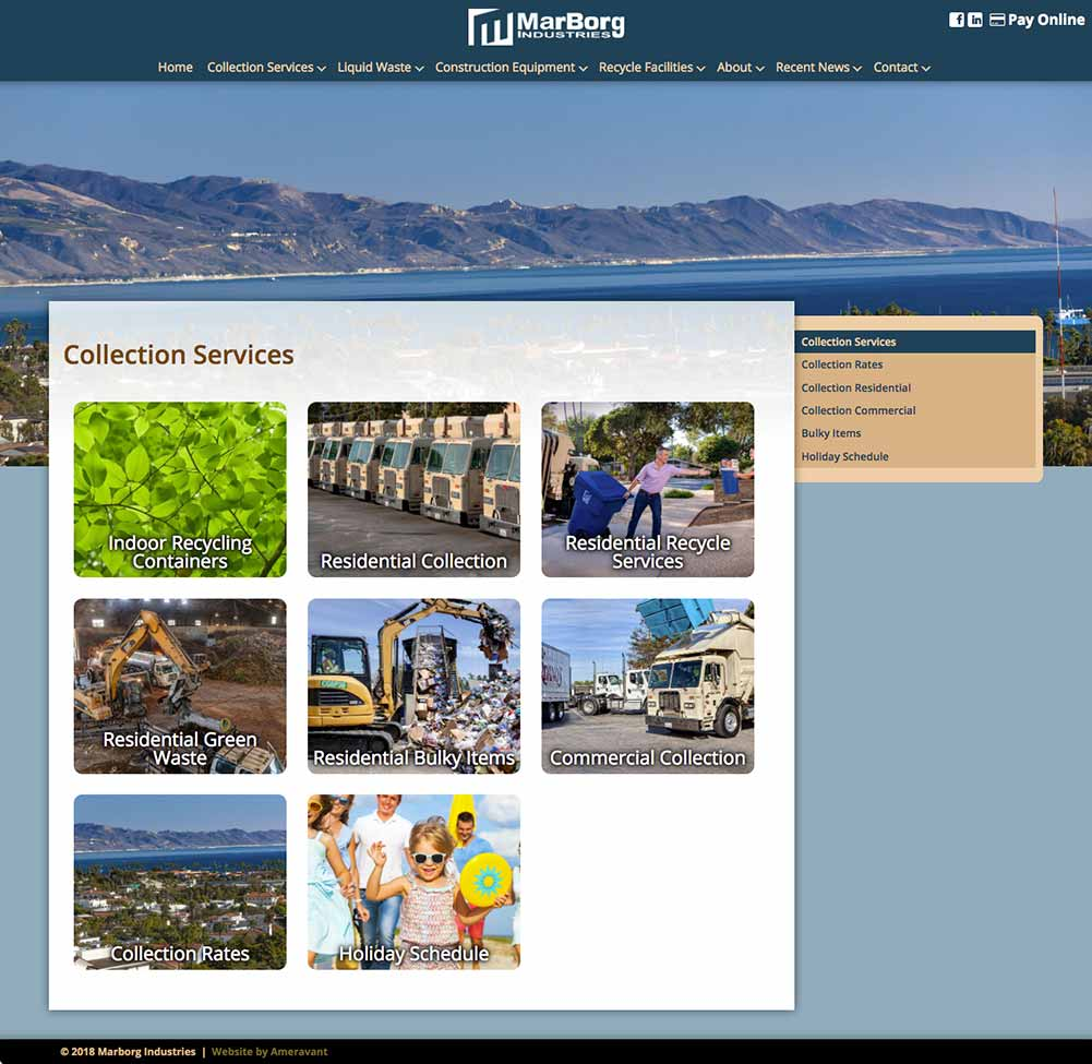 MarBorg Industries Santa Barbara Website Designers Secondary Page