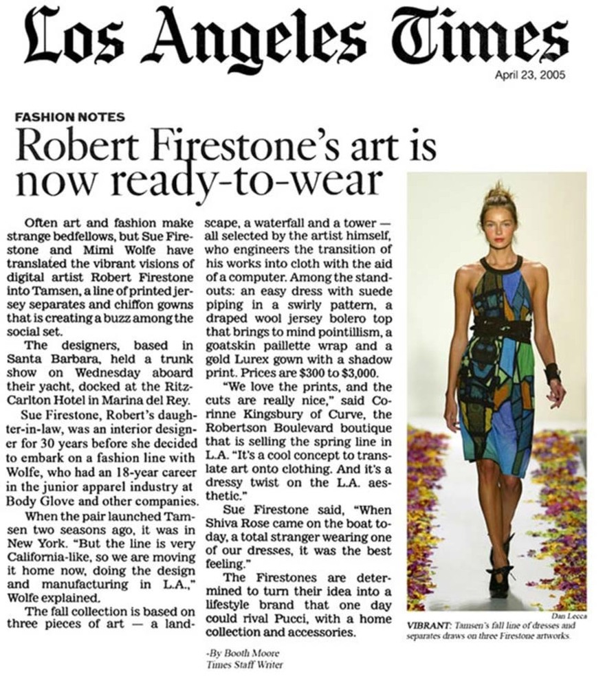 Robert Firestone's Art is Now Ready-to-Wear LA Times April 2005