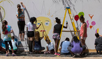 Teen Mural day 2018 - photo from past - just getting started