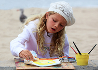 Summer Camp photo - girl painting at the beach
