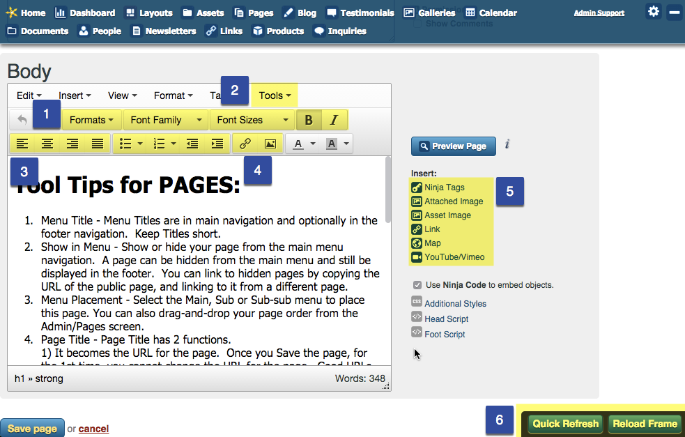 Page Creation Tool Tips