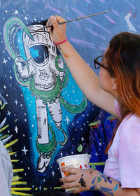 Teen Mural Project - closeup spaceman