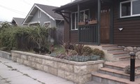 Small Front Yard Garden Wall & Drought-Tolerant Plantings