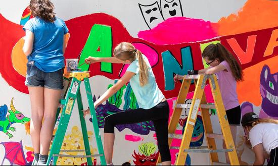 2018 TEEN MURAL - girls on ladders at teen mural