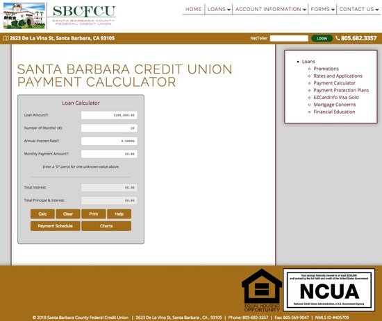 Santa Barbara County Federal Credit Union Calculator