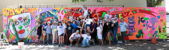 TMP 2018 - wide shot with volunteers of completed teen mural