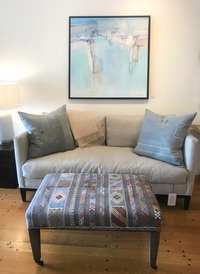 Sofa and Rug Pillows and Ottoman