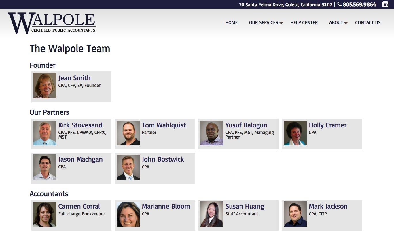 Walpole CPA Goleta Tax and Accounting Firm Team