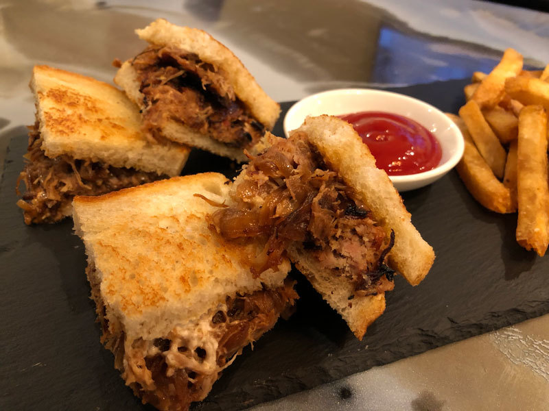 Pulled Pork, Caramelized Onion, Goat Cheese Panini