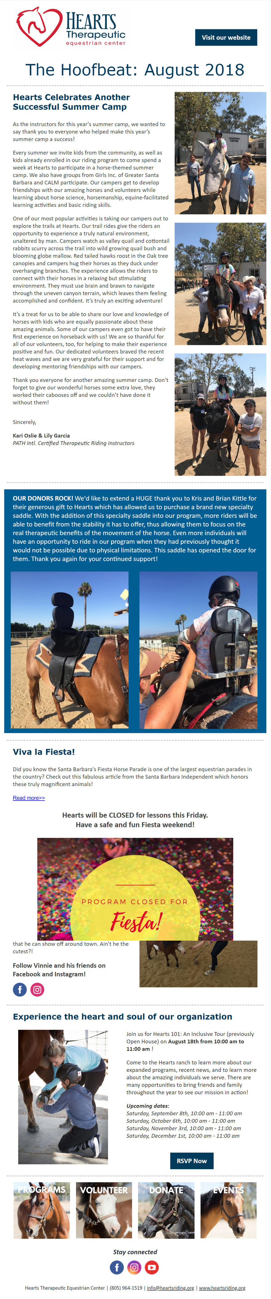 The Hoofbeat Newsletter | August 2018 | Hearts Riding