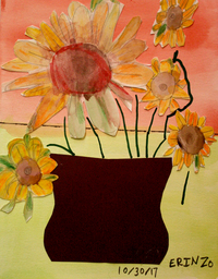 mixed media artwork sunflowers in a vase by artist Erin Ziegler