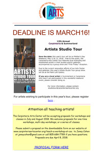 MARCH  1-15, 2018 + CARPINTERIA ARTS NEWSLETTER