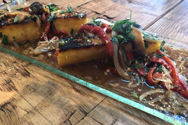 Baked Polenta with Roasted Peppers, Wild Mushrooms, Caramelized Onions