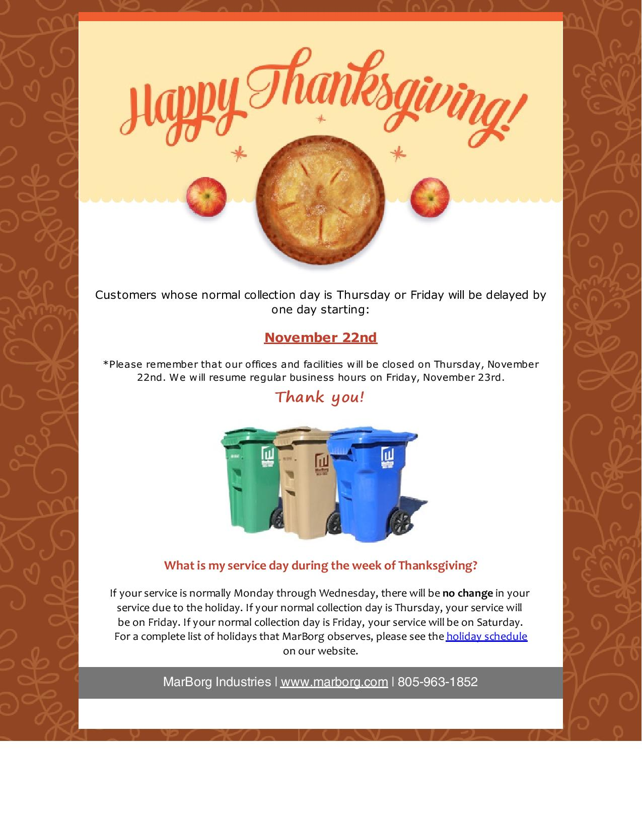 Thanksgiving Service Delays