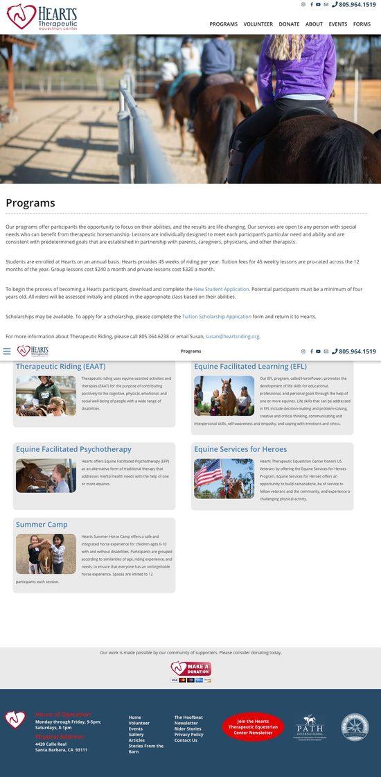 Hearts Therapeutic Equestrian Center Secondary
