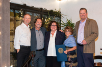 Santa Barbara Mayor Cathy Murillo stands with representatives of Santa Barbara waterfront department, Kevin Smith and Kathy Webb