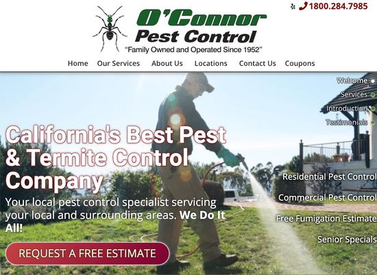 Santa Barbara Web Design O'Connor Pest Control Homepage