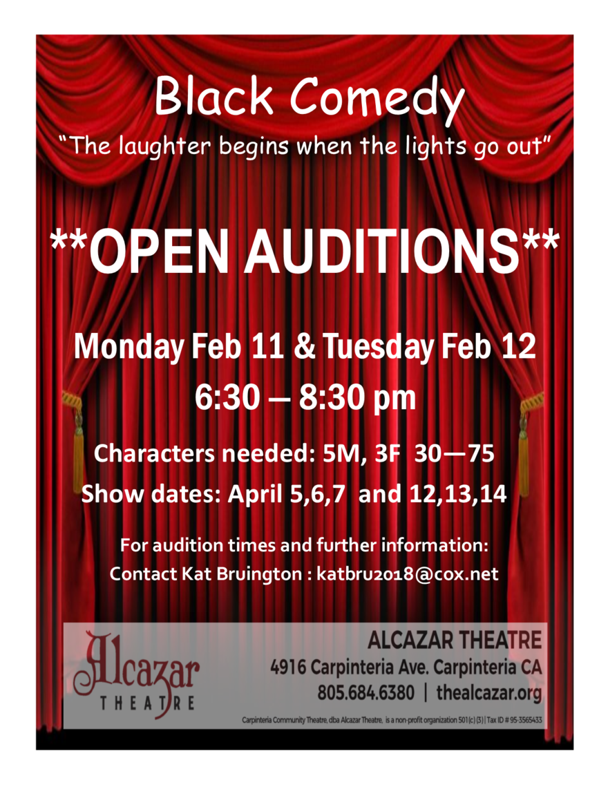 Open Auditions: Black Comedy - Alcazar Theatre Carpinteria