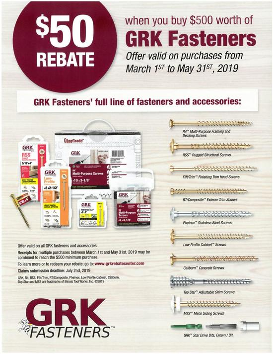 Monthly Specials GRK Fasteners Promo