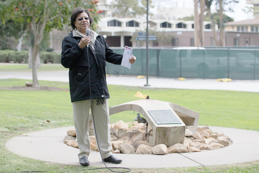 Pres. E. Onja Brown at Eternal Flame, Buchanan Hall Lawn, UCSB