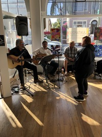 the Traveling Hurtados band playing at 1st Thursday exhibition