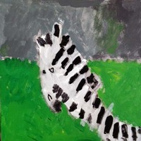 acrylic painting of a zebra with a bright green and grey background
