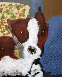 acrylic painting of a brown and white dog on a blue pillow and yellow floral background