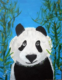 acrylic painting of a black and white panda bear with bright blue background and green bamboo