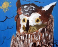 acrylic painting of a brown and white owl with blue background and yellow sun