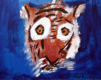 acrylic painting of orange and black striped tiger with big yellow eyes and blue background