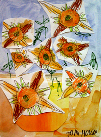mixed media painting of bright orange and yellow flowers with light blue background