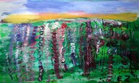 acrylic painting of field of flowers with greens and purples with yellow and purple horizon lines