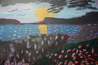 acrylic painting of a beach scene at night with black foreground blue water and yellow sun going down behind black mountains