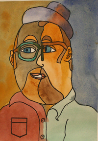 watercolor self portrait painting by artist and studio instructor Brian MacLaren