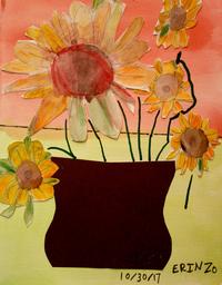 mixed media artwork sunflowers in a vase by artist Erin Ziegler