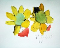 watercolor painting and sketch of yellow flowers