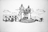 drawing of the Santa Barbara Mission by artist Nelson Riveria