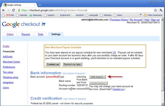 Google Checkout Bank Setup - 5