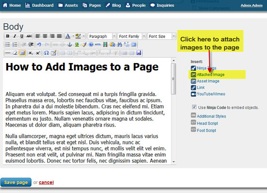 #3 Attach Images from the Page Edit screen