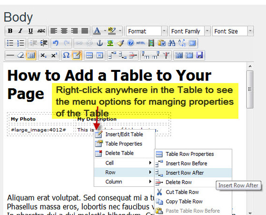 Step #5 - Add more Rows or Columns to your Table