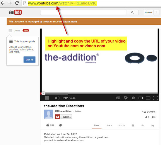 Copy the URL of your video from youtube.com or vimeo.com