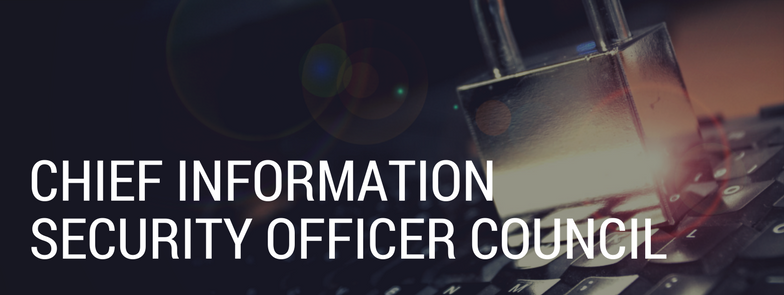 Chief Information Security Officer Council banner, background image of a glass lock on top of a keyboard