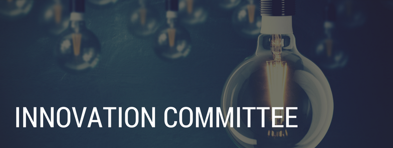 Innovation Committee banner, background image of light bulbs with one light bulb illuminated