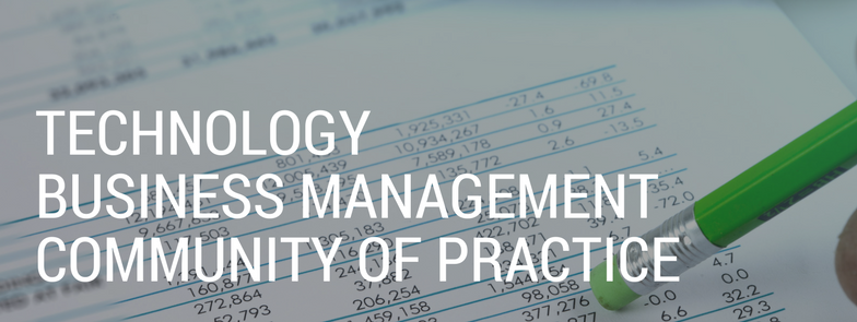 Technology Business Management Community of Practice Banner with stock image of financial management paperwork