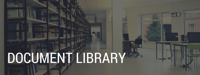 Banner for the Document Library with a background image of a library